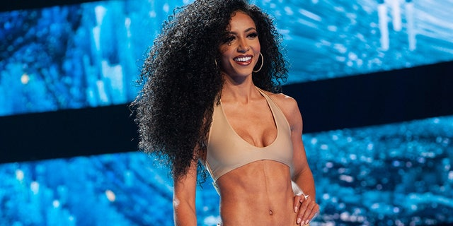 Cheslie Kryst, Miss North Carolina USA 2019, competes as a Top 15 finalist in Sinesia Karol Swimwear and footwear by Lauren Lorraine during the MISS USA® Competition at Grand Sierra Resort and Casino's (GSR) Grand Theatre on Thursday, May 2.