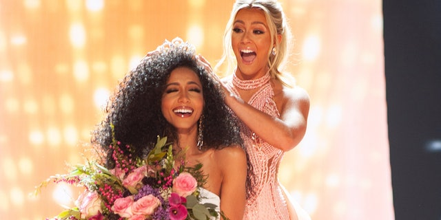 Cheslie Kryst, Miss North Carolina USA 2019, is crowned the new Miss USA by Miss USA 2018, Sarah Rose Summers at the conclusion of the two-hour special programming event on FOX from Grand Sierra Resort and Casino's (GSR) Grand Theatre on Thursday, May 2, 2019.