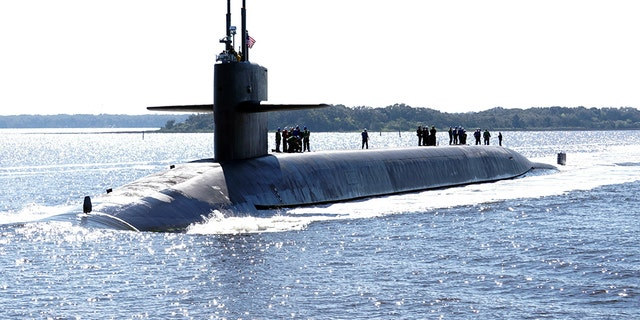 The Ohio-class ballistic-missile submarine USS Rhode Island Gold crew returns to homeport at Naval Submarine Base Kings Bay, Georgia.