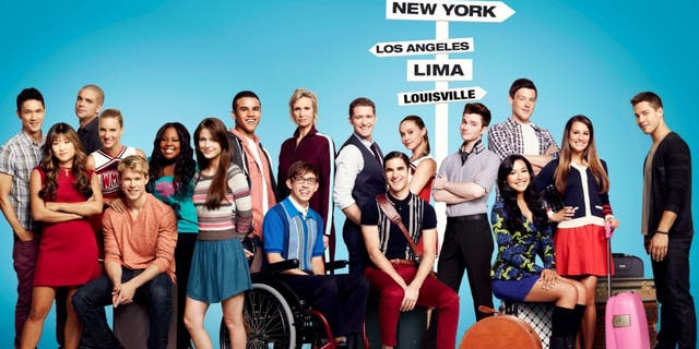 "The cast of ""Glee,"" Harry Shum Jr., Jenna Ushkowitz, Mark Salling, Heather Morris, Chord Overstreet, Amber Riley, Melissa Benoist, Jacob Artist, Kevin McHale, Jane Lynch, Matthew Morrison, Darren Criss, Becca Tobin, Chris Colfer, Naya Rivera, Cory Monteith, Lea Michele and Dean Geyeron"