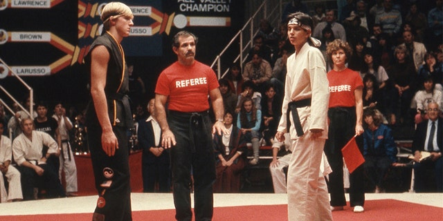 "Ralph Macchio and William Zabka in the 1984 movie ""The Karate Kid."""