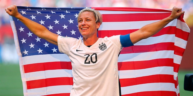 Abby Wambach celebrating the 5-2 victory against Japan in the FIFA Women's World Cup on July 5, 2015, in Vancouver, Canada. (Kevin C. Cox/Getty Images, File)