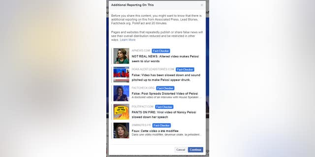 If a user tries to share the doctored video on Facebook, they see the above pop-up.