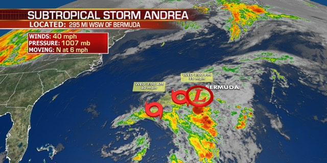 Subtropical storm Andrea formed southwest of Bermuda on Monday, but has already fizzled out.
