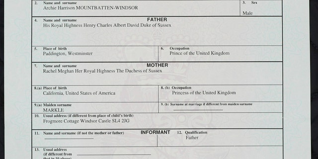 A copy of the birth certificate of Archie Harrison Mountbatten-Windsor, son of Britain's Prince Harry and Meghan, the Duchess of Sussex, in London, Friday May 17, 2019. The birth certificate reveals that Archie was born in a private hospital in London. (Jonathan Brady/PA via AP)