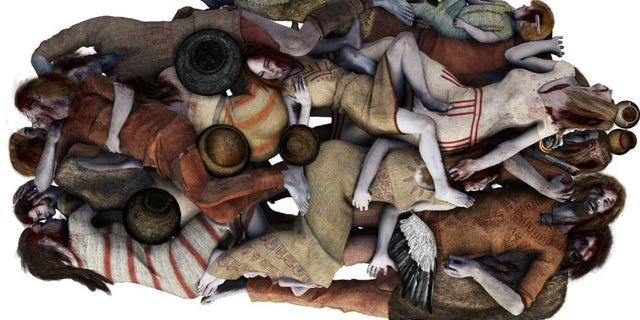 The above artist's reconstruction of the grave shows how the bodies were positioned. (Illustration: Michał Podsiadło)
