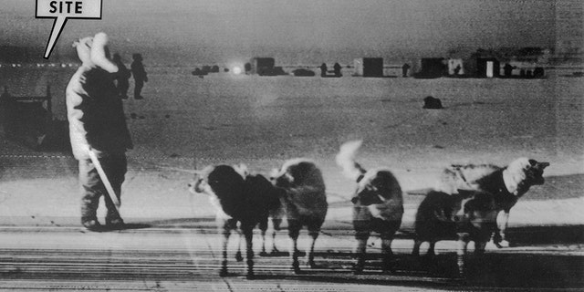 An Eskimo dog team stands on frozen Baffin Bay near the site of the crash of a U.S. B-52 nuclear bomber on January 21, 1968. Buildings on the right are recovery teams. A string of lights at left marks the crash site.
