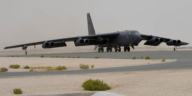 A U.S. Air Force B-52H Stratofortress takes off in Qatar on Sunday. (U.S. Air Force)