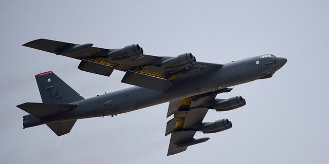 A U.S. Air Force B-52H Stratofortress bomber, assigned to the 20th Expeditionary Bomb Squadron, takes off from Al Udeid Air Base in Qatar on Sunday.
