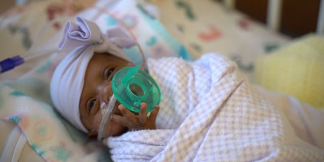 Baby Saybie weighed five pounds when she was discharged from the hospital this month.
