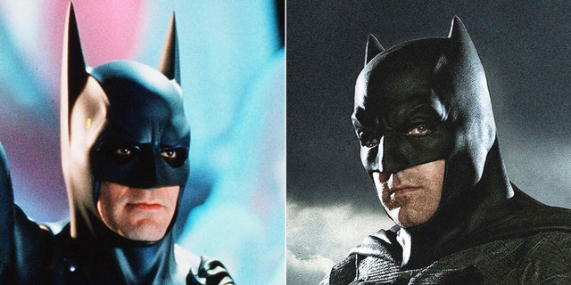 Clooney, pictured left as the Dark Knight, said his negatively received performance of Batman led him to dissuade Affleck, right, from taking the role.