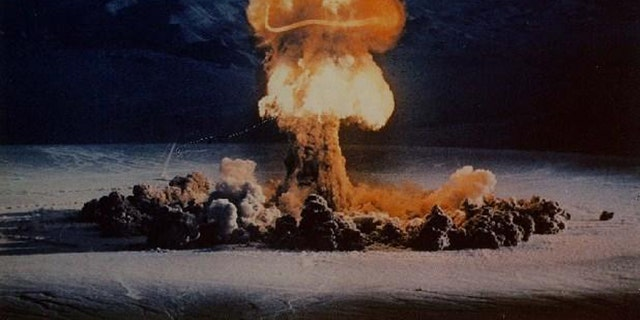 The 37 kiloton 'Priscilla' nuclear test, detonated at the Nevada Test Site in 1957. (Credit: US Department of Energy)