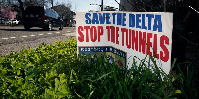 A sign opposing Brown's proposal near Freeport, Calif. in February 2016. (AP Photo/Rich Pedroncelli, File)