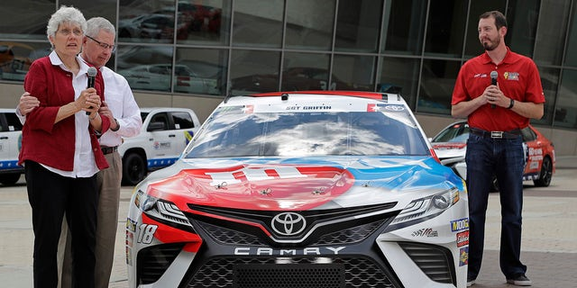The parents of Army Sgt. Dale Griffin joined Kyle Busch on Wednesday at the unveiling of the paint scheme his car will feature during the Coca-Cola 600.