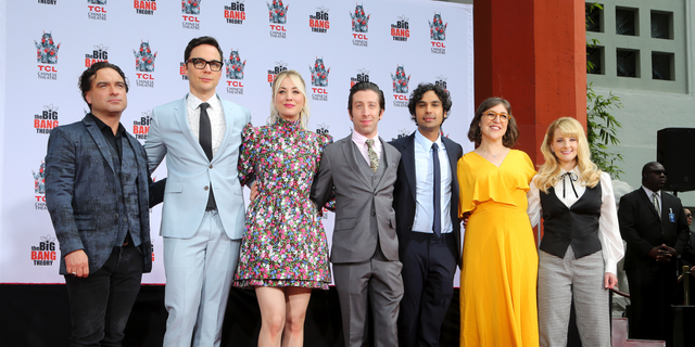 "Johnny Galecki, from left, Jim Parsons, Kaley Cuoco, Simon Helberg, Kunal Nayyar, Mayim Bialik and Melissa Rauch, cast members of the TV series ""The Big Bang Theory,"" pose at a hand and footprint ceremony at the TCL Chinese Theatre on Wednesday, May 1, 2019 at in Los Angeles."