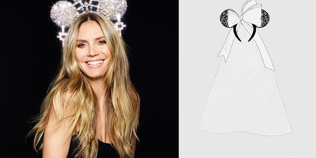 Heidi Klum (pictured left) and Vera Wang (sketch pictured right) are set to design their own iconic mouse ears through the partnership.