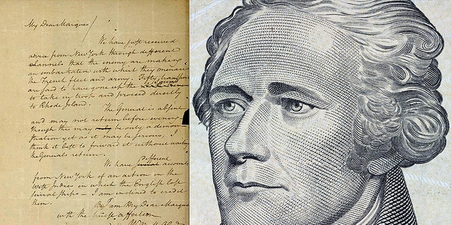 The image on left shows a 1780 letter from Alexander Hamilton to the Marquis de Lafayette, that was stolen from the Massachusetts Archives decades ago.