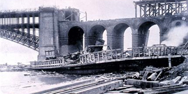 The 1896 St. Louis Tornado tore away some 300 feet of the structure of the Eads Bridge.