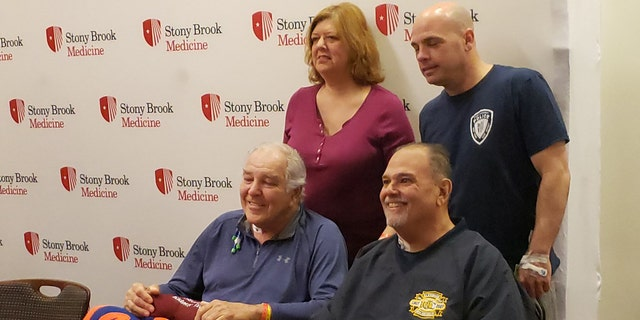 Mets legend Ed Kranepool, bottom left, received a kidney from Debra Barbieri, top left. Her husband Long Island volunteer firefighter Al Barbieri, bottom right, was the recipient of a kidney from police officer Brian Cooney, top right.