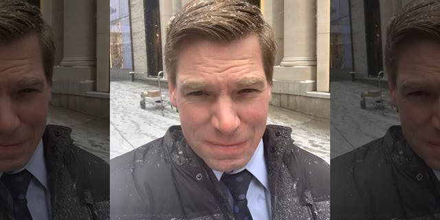 California Rep. Eric Swalwell was slammed on Twitter Wednesday for posting about his decision to bypass a coffee shop inside Trump Tower and walk a couple of extra blocks. (Rep. Eric Swalwell / Twitter)