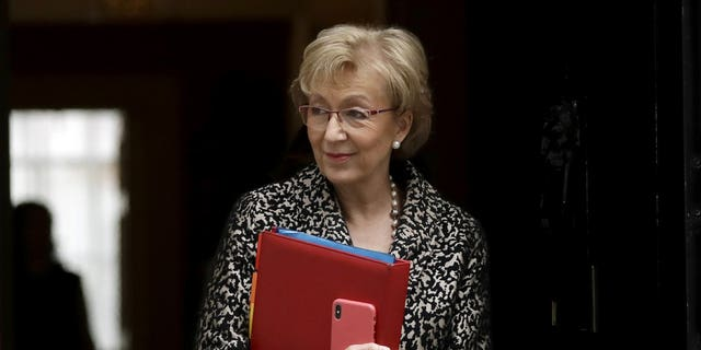 In this Tuesday, March 19, 2019 file photo, Britain's Andrea Leadsom the Leader of the House of Commons leaves a cabinet meeting at 10 Downing Street