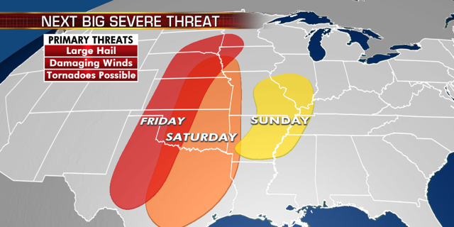 "A ""significant"" severe weather threat is expected over the nation's mid-section starting on Friday, according to the National Weather Service."