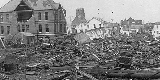 A view of the devastation caused by the Great Galveston Hurricane of 1900 that left between 8,000 to 12,000 dead.