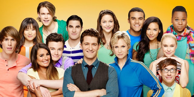 """Glee"" cast members Jenna Ushkowitz, Chord Overstreet, Darren Criss, Melissa Benoist, Jacob Artist, Naya Rivera and Alex Newell. Bottom (L-R bottom) Blake Jenner, Lea Michele, Chris Colfer, Matthew Morrison, Jane Lynch, Becca Tobin and Kevin McHale."