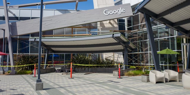 Facade with logo at the Googleplex, headquarters of Google Inc in the Silicon Valley, Mountain View, Calif., April 13, 2019.