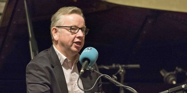 British Environment Secretary Michael Gove speaks to BBC Radio 4 presenter John Humphrys during a live broadcast from Wigmore Hall in central London.