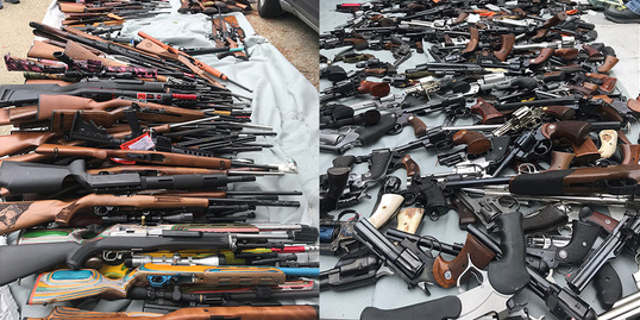 A large cache of weapons was recovered at home in an affluent neighborhood of Los Angeles on Wednesday, police said.