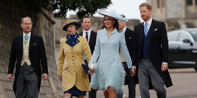 From front row right, Britain's Prince Harry, Lady Frederick Windsor, Princess Anne, and Prince Edward arrive for the wedding of Lady Gabriella Windsor and Thomas Kingston at St George's Chapel, Windsor Castle, near London, England, Saturday, May 18, 2019. (AP Photo/Frank Augstein, Pool)