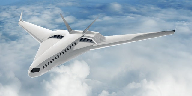 Artist's rendering of an advanced commercial transport aircraft concept utilizing CHEETA systems. Credit: University of Illinois at Urbana-Champaign Department of Aerospace Engineering