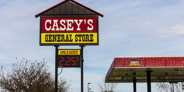 The billboard was advertising Casey's General Store's new online pizza ordering.