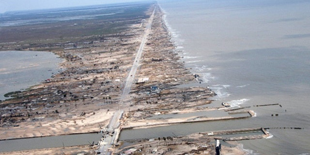 Storm damage along the Texas coast can be seen in this 2008 photo from the National Oceanic and Atmospheric Administration.