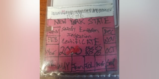 Image result for Cops bust driver for phony hand drawn inspection sticker