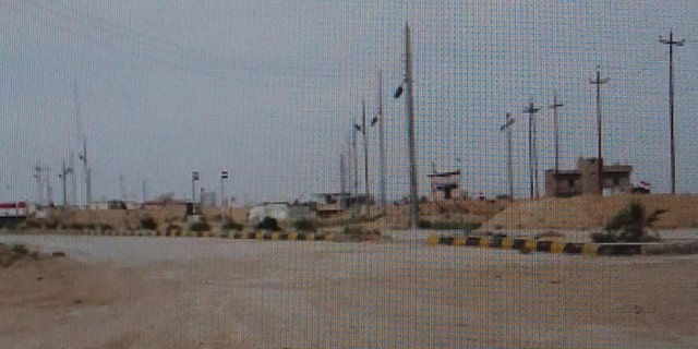 An Iraqi army base seen near the deserted crossing.