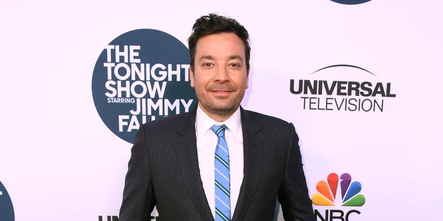 Fallon showed his audience the cover of the New York Post showing people laughing at de Blasio's presidential bid.(Photo by Frazer Harrison/Getty Images)