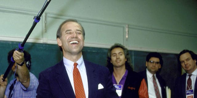 FILE: Sen. Joseph R. Biden Jr. (C) campaigning at an adult education center after announcing his bid for the 1988 Democratic presidential nomination. (Photo by Steve Liss/The LIFE Images Collection/Getty Images)