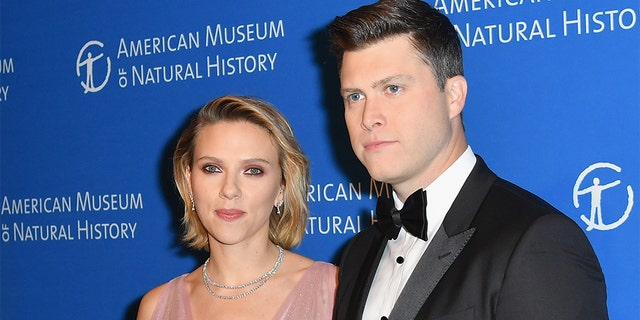 Actress Scarlett Johansson and comedian Colin Jost welcomed their son, Cosmo, in August.
