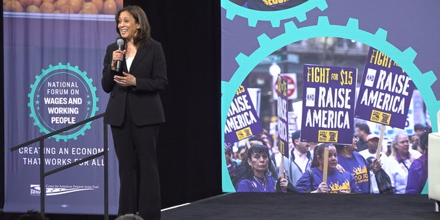 Sen. Kamala Harris tells union workers she will repeal the GOP tax cut if she were to be elected president, April 27, 2019 at the SEIU forum in Las Vegas.