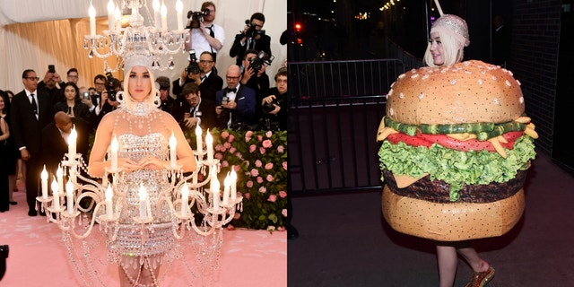 Katy Perry dressed up as a chandelier and a burger for Monday night's Met Gala.
