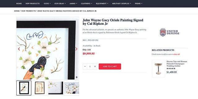 A John Wayne Gacy painting of an oriole, apparently signed by Cal Ripken Jr., is for sale.