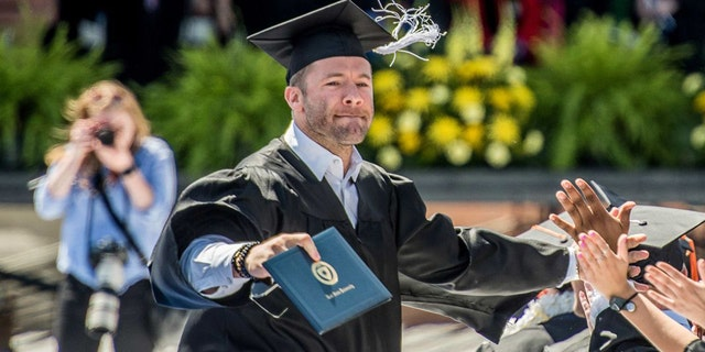 New England Patriots wide receiver Julian Edelman received his diploma at Kent State University on Saturday.