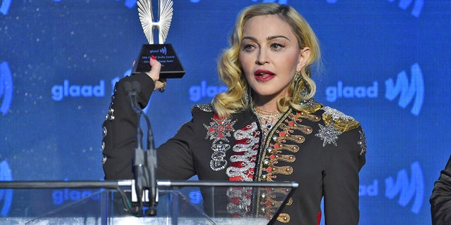 Honoree Madonna accepts the advocate for change award at the 30th annual GLAAD Media Awards.