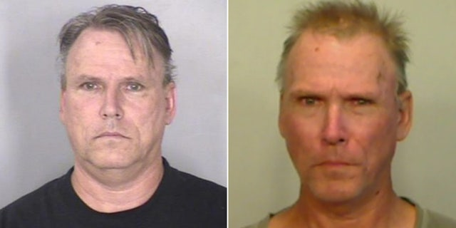 Michael Patrick Manning, 58, pictured on the left after his arrest on September 3, 2015, and again this month.