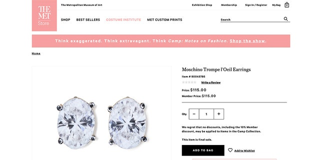 A pair of $115 clip-on earrings made to look like huge jewels are actually fabricated out of cardboard.