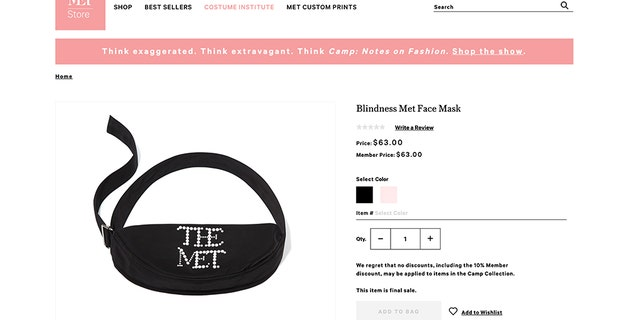 Highlights include a $63 surgical face mask (pictured) and a $100 Met-branded chin strap.