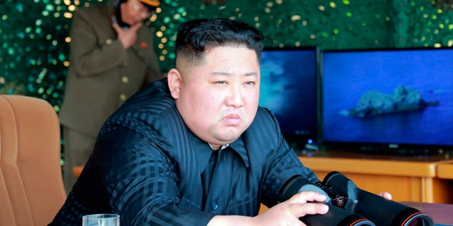 North Korean leader Kim Jong Un, equipped with binoculars, observes tests of different weapons systems on Saturday.