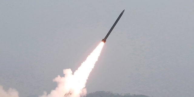 This Saturday, May 4, 2019, photo provided on Sunday, May 5, 2019, by the North Korean government shows a test of weapon systems, in North Korea.
